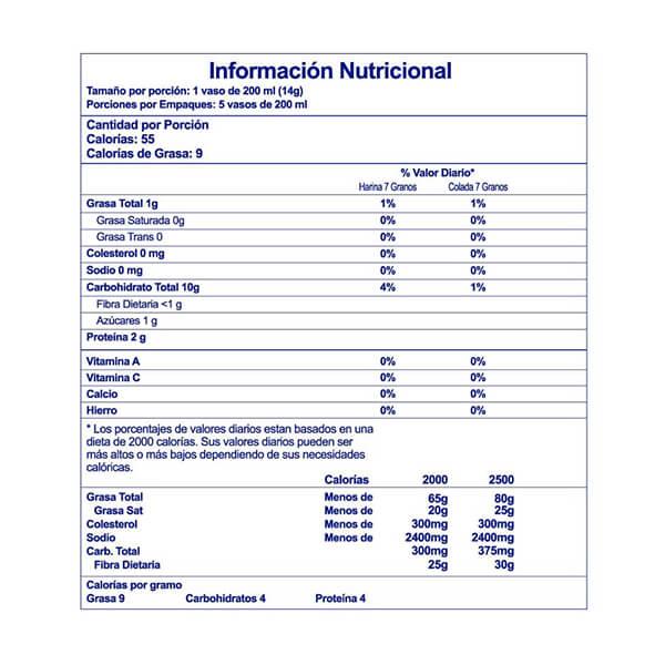 7 Granos Peter Vainilla Información Nutricional