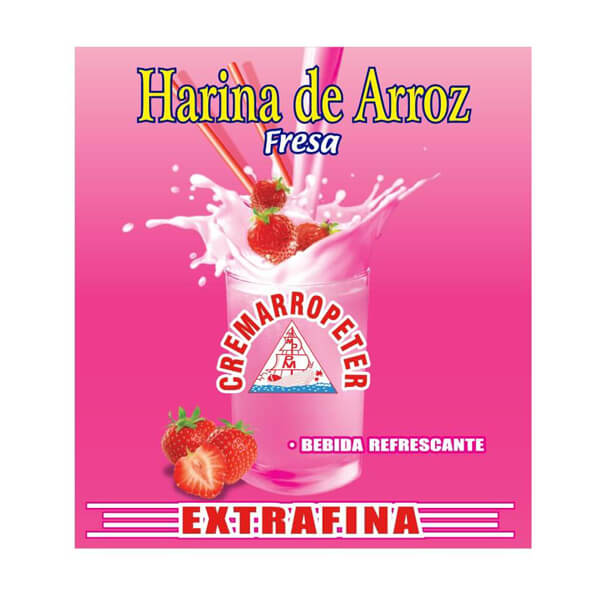 Harina de Arroz Cremarropeter Fresa Display 12 x 70g Extrafina