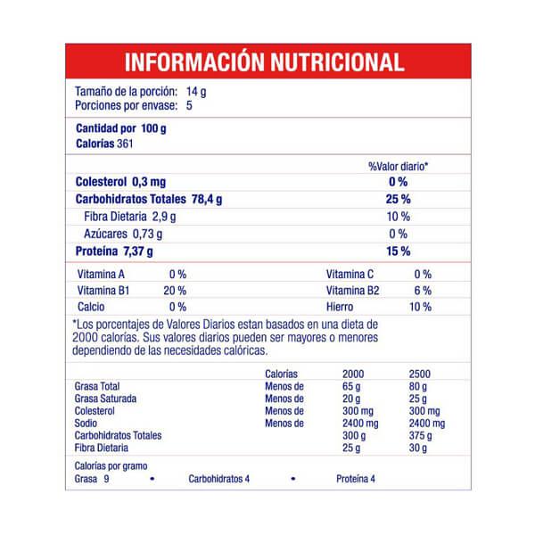 Harina de Arroz Cremarropeter Vainilla Información Nutricional